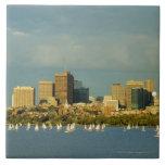 Veleros en un río, el río Charles, Boston, Azulejos Ceramicos