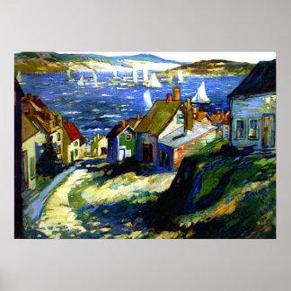 Veleros por el puerto, pintura de la bella arte