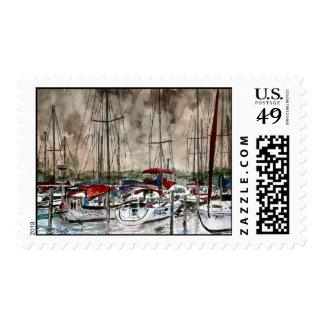 veleros que navegan sellos marinos del barco de ve