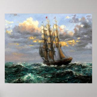 veleros que pintan 48 póster