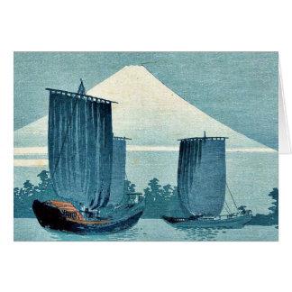 Veleros y el monte Fuji por Uehara, Konen Ukiyoe Felicitaciones