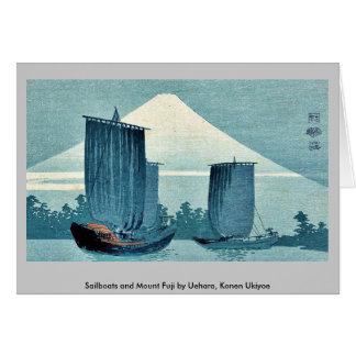 Veleros y el monte Fuji por Uehara, Konen Ukiyoe Felicitacion