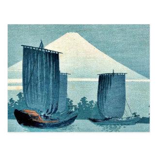 Veleros y el monte Fuji por Uehara, Konen Ukiyoe Postales