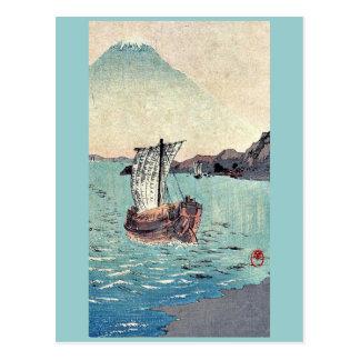 Veleros y el monte Fuji por Yamamoto, Shokoku Tarjeta Postal