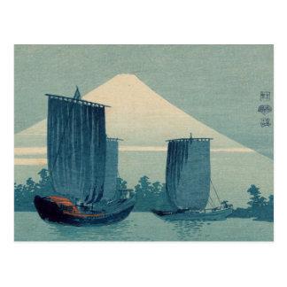 Veleros y el monte Fuji - Uehara Konen Tarjeta Postal