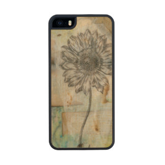 Vellum Floral I Wood Phone Case For iPhone SE/5/5s