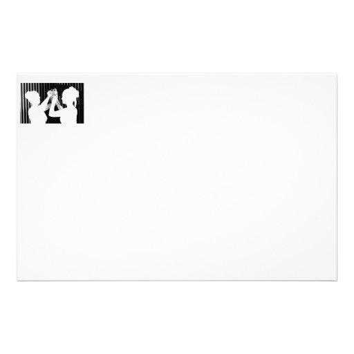 Velo de novia blanco y negro por el &bridesmaid de papelería personalizada
