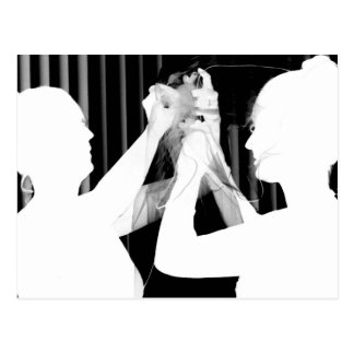Velo de novia blanco y negro por el &bridesmaid de tarjeta postal