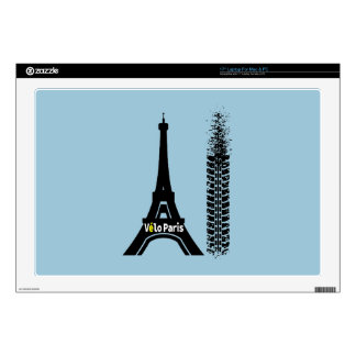 "Velo Paris Bike Eiffel Tower 17"" Laptop Skin"
