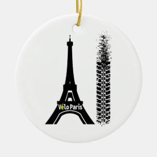 Velo Paris Bike Eiffel Tower Ceramic Ornament