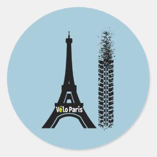 Velo Paris Bike Eiffel Tower Classic Round Sticker