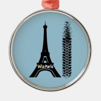 Velo Paris Bike Eiffel Tower Metal Ornament