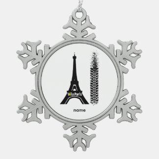 Velo Paris Bike Eiffel Tower Snowflake Pewter Christmas Ornament
