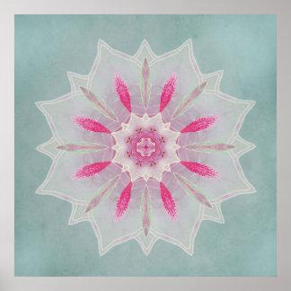 Velo rosado Lotus de la azalea Póster