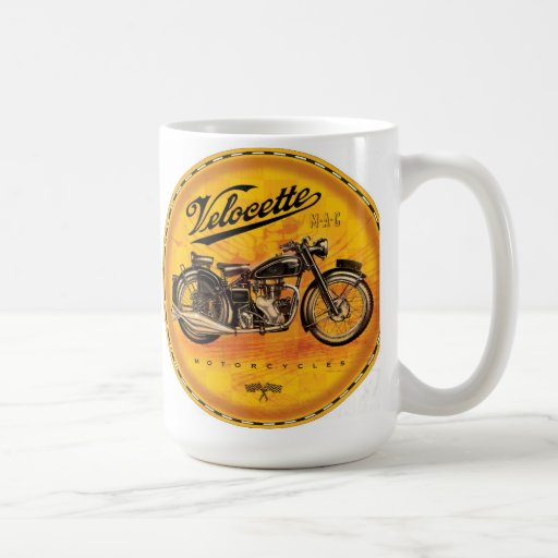 Velocette amber motorcycles sign classic white coffee mug