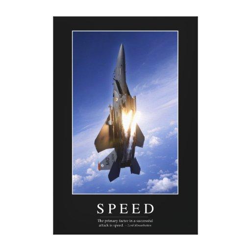 Velocidad: Cita inspirada 1 Lona Estirada Galerías