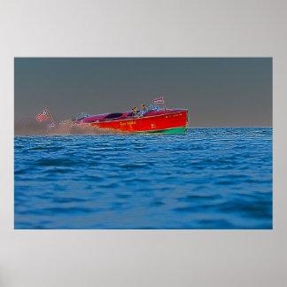 Velocidad clásica - poster de madera del barco