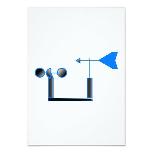 """Velocidad del viento azul y paleta de tiempo invitación 3.5"""" x 5"""""""