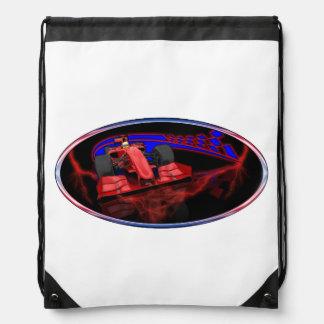 Velocidad y banderas a cuadros mochila