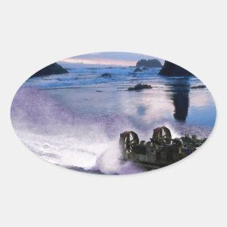 Velocidades del arte de la libración del agua pegatina ovalada
