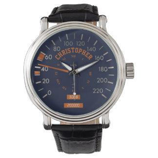 Velocímetro azul en los relojes de los hombres del