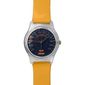 Velocímetro azul en los relojes del tablero de