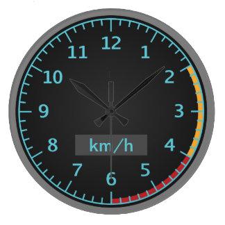 Velocímetro azul y negro reloj redondo grande