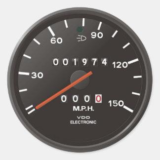 Velocímetro del coche de competición, inspirado etiquetas redondas