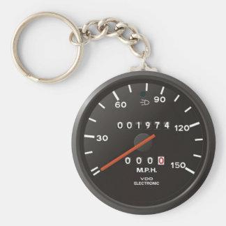 Velocímetro del coche de competición inspirado po llavero personalizado