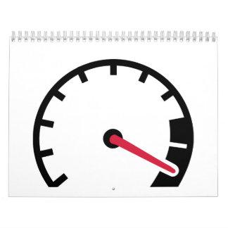 Velocímetro del coche de la velocidad calendario