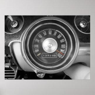 Velocímetro del coche del músculo del vintage póster