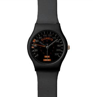 Velocímetro transparente en los relojes del