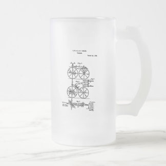 Velocipede Hanlon 1868 Frosted Glass Beer Mug
