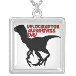 Velociraptor Awareness Day Silver Plated Necklace