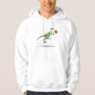 Velociraptor cartoon dinosaur basketball hooded sweatshirt