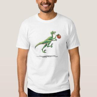 Velociraptor cartoon dinosaur basketball t shirt