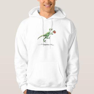 velociraptor cartoon dinosaur with basketball hoodie