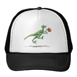 Velociraptor de la gorra de béisbol con baloncesto