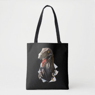 Velociraptor Dinosaur All-Over-Print Tote Bag
