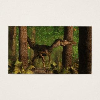 Velociraptor dinosaur in the forest business card