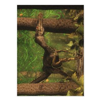 Velociraptor dinosaur in the forest card
