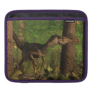 Velociraptor dinosaur in the forest iPad sleeve