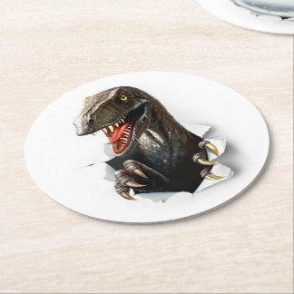 Velociraptor Dinosaur Round Paper Coaster
