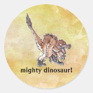 Velociraptor enojado pegatina redonda