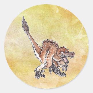Velociraptor enojado pegatinas redondas
