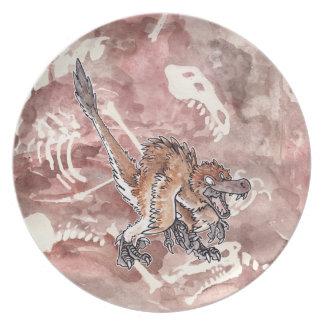 Velociraptor enojado plato de cena