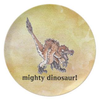 Velociraptor enojado plato de comida