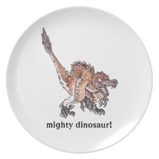 Velociraptor enojado platos