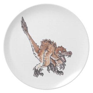 Velociraptor enojado platos para fiestas