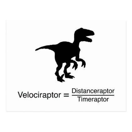 velociraptor funny science postcard